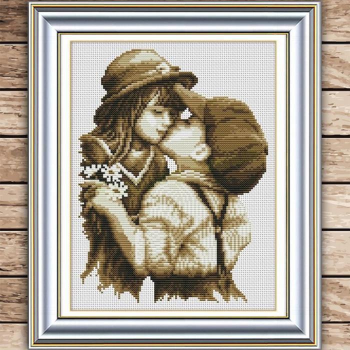 Вышивка крестом дети целуются